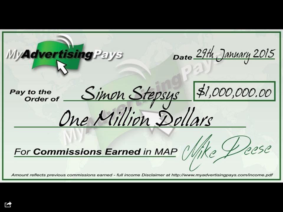 Simon Stepsys Millionaire Dollar Cheque